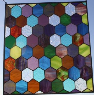 Honeycomb In Color Stained Glass Window Art Panel photo
