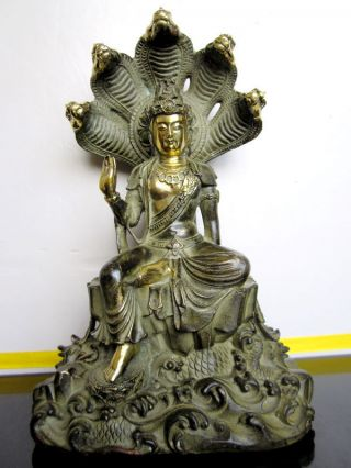 Tibet Bronze Statue Buddha Tara Nagarjuna And Dragon Statue Gilded photo