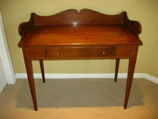 Vintage Ethan Allen Pine Library Desk Wood Table photo