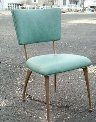 Set Of 4 Mid Century Eames Era Aqua Brass? Legs Kitchen Chairs Dirty Not Damaged photo