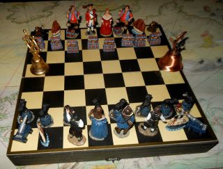 Pirates Chess Set Wood Storage Board Navy Maritime 3