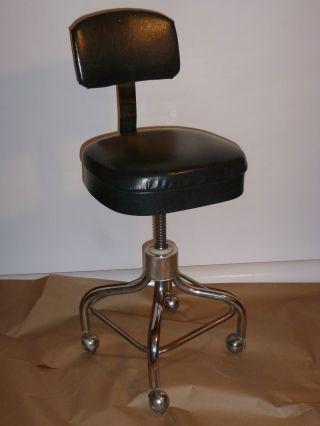 Vintage 1950s Mid - Century Dentist Stool/chair Chrome Base Footrest Casters photo