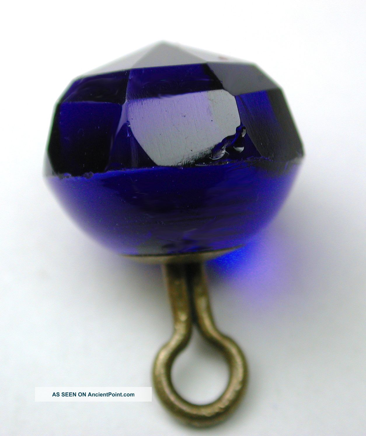 Antique Glass Button Faceted Cobalt Blue Ball Design Buttons photo