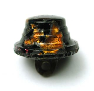 Antique Leo Popper Glass Button Black & Orange W/ Hat Mold Design photo