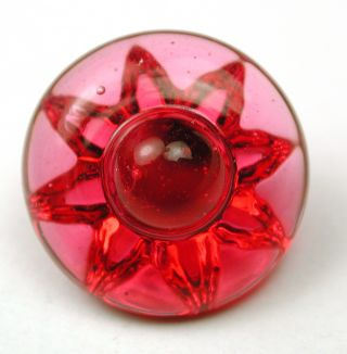 Antique Glass Button Pink Color Glory Mold W/ Center Knob photo