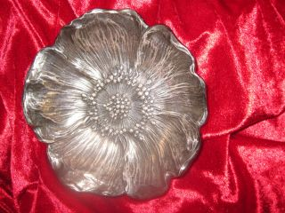 ► 1910 Durgin Gorham Sterling Silver Poppy Flower Bowl Realistic Vtg Not Scrap photo