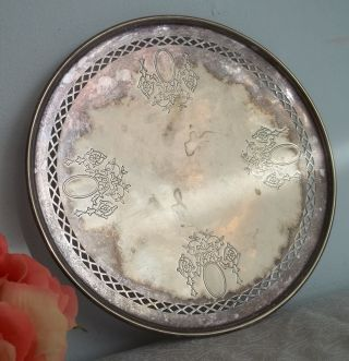 Round Vtg Antique Sheffield Silverplate Serving Platter.  Etched,  Pierced Design photo