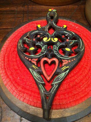 Antique Wilton Cast Iron Trivet Heart Lovely Old Piece photo