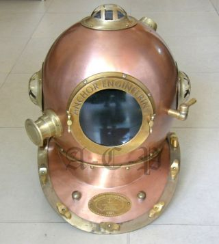 Antique Look Anchor Engineering Diving Helmet Collectible Marine Diver ' S Helmet photo