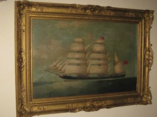 Attributed To Lai Fong Of Calcutta Antique Chinese Master Marine Oil Painting photo