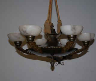 Art Deco Bronze/brass Figural 6 - Light Chandelier With Alabaster Shade photo