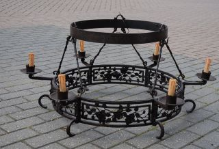 Huge Art Nouveau Hand Made Quality Wrought Iron Art 6 - Light Chandelier photo