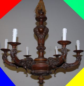 Italian Finest Carved Wood Floral 6 - Light Chandelier photo