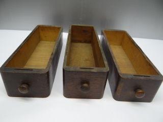 Of Three Antique Old Wood Wooden Sewing Machine Table Drawers Parts Nr photo