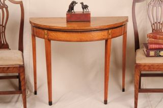 Fine Federal Neoclassical Satinwood Pembroke Antique Game Card Table C.  1800 - 20 photo