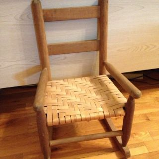 Antique Vintage Vtg.  Child ' S Wooden Wood Ladder Back Rocker Chair Natural photo