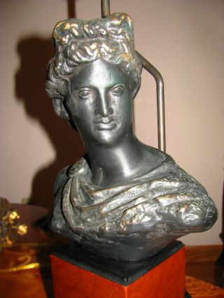 Roman Greek Diana Bust Statue Figurine Table Lamp Light Fixture photo