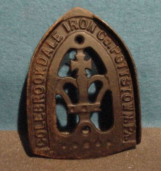 Fabulous Old Cast Iron Trivet Colebrookdale Iron Co Pottstown Pa Cross & Crown photo