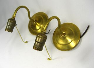 Pair Wall Sconces Cast Brass Newly Wired Ready For Use Made By Judi ' S Lampshades photo