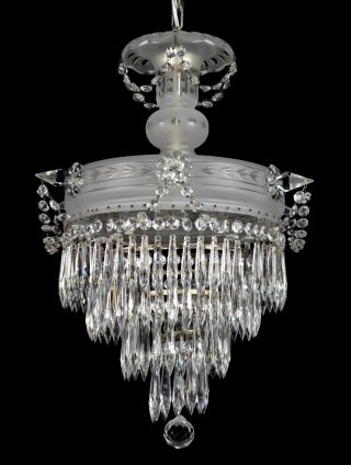 Antique Czech Crystal Chandelier Vintage Ceiling Light Restored Etched Wedding C photo