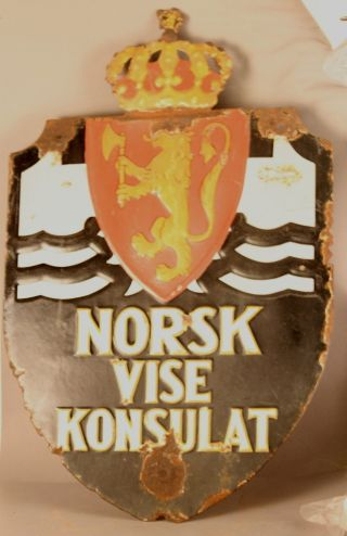 Norway Vise Council Sign Norsk Konsulate Porcelain Enamel Antique Embassy Vintag photo
