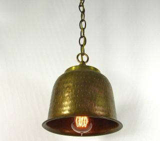 Vintage Pendant Cast Brass Hammered Lamp Shade Re Purpose Design Brass Canopy photo