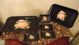 6 Pc Set Toleware Tole Tray - Black Trays W/floral Design photo