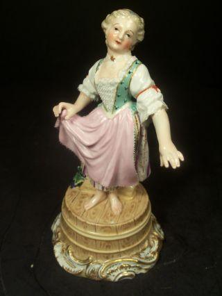 Rare Antique Meissen Porcelain Figure Of Girl On Barrel Celebrating Wine Harvest photo