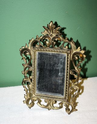 Antique Ornate Metal Brass Colored Marked Frame & Mirror photo