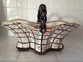Holland Hand Painted Procelain Basket - Colors Gold Leaf Details photo