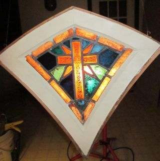 1930 Antique Church Stained Glass Window Unique Small Shape Trumbull Ct photo