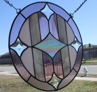 Pink - - - - Handmade Stained Glass Art Panel - - - photo