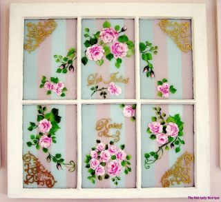 Shabby Romantic Hp Les Jolies Roses Vintage Window Painting Ooh La La P.  E.  P. photo