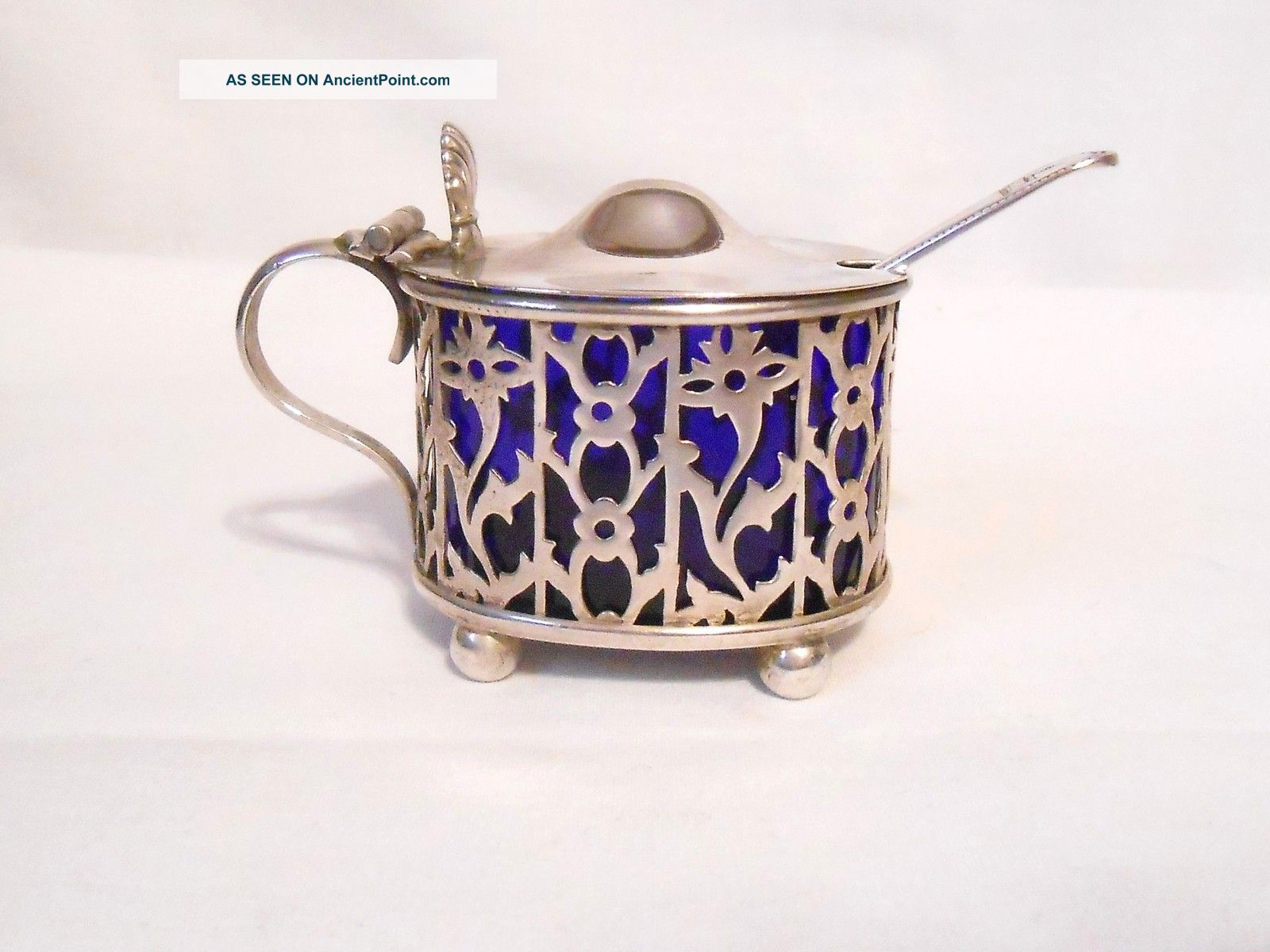 Antique Sterling Silver Cobalt Blue Cooper Bros Mustard Pot/salt Cellar C.  1900 Mustard Pots photo
