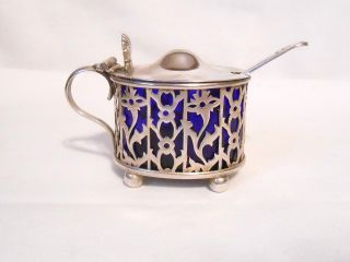 Antique Sterling Silver Cobalt Blue Cooper Bros Mustard Pot/salt Cellar C.  1900 photo
