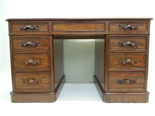 William Iv Leather - Top Mahogany Pedestal Desk C1800s photo