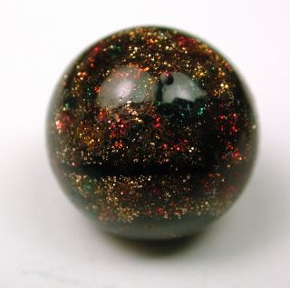 Antique Glass Ball Button Black & Gold Red Green Sparkle Design photo