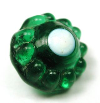 Antique Charmstring Glass Button Green Candy Mold W/ White Dot Design Swirl Back photo