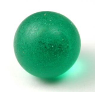 Antique Glass Ball Button Green Color Swirl Back photo