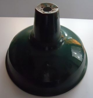 Old Vintage Iron Green Porcelain Enameled Industrial / Interior Lampshade photo