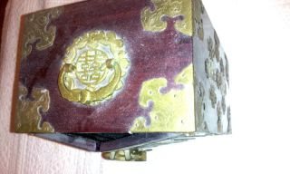 Splendid Antique Chinese Box With Carved Jade Insets And Lock And Key photo