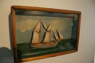 Antique Folk Art Ship Diorama Early Primitvevictorian Paint Small Size photo