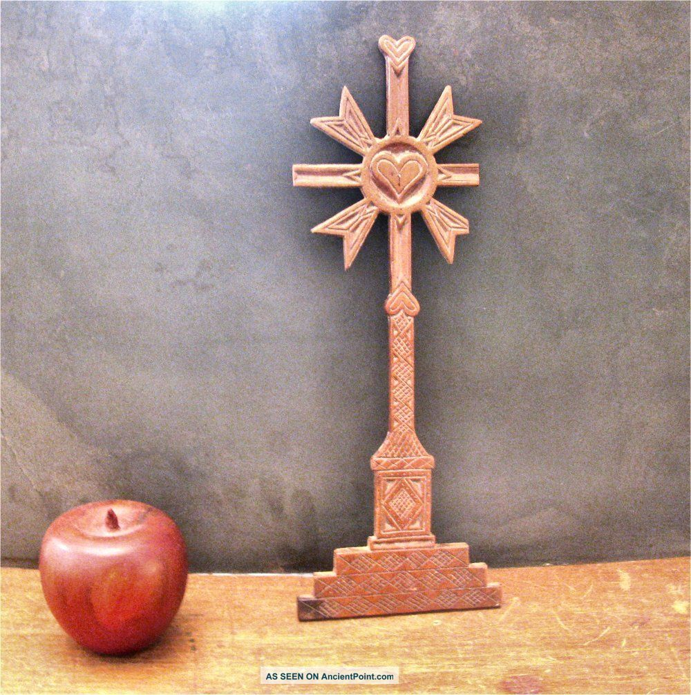 19c Spanish Colonial/california Mission Folk Art Cross+hearts Exvoto Milagro Latin American photo