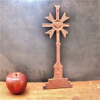 19c Spanish Colonial/california Mission Folk Art Cross+hearts Exvoto Milagro photo