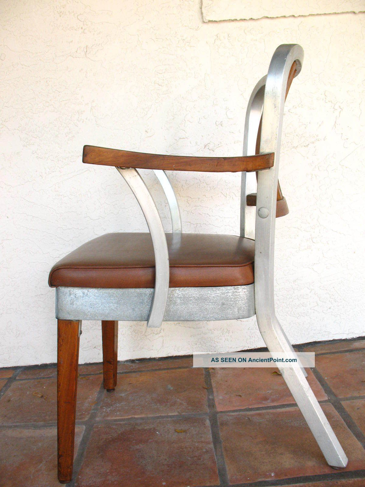 shaw walker aluminum and wood armchair