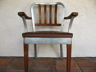 Shaw Walker Aluminum And Wood Armchair,  Early 1960 ' S Industrial Chair photo