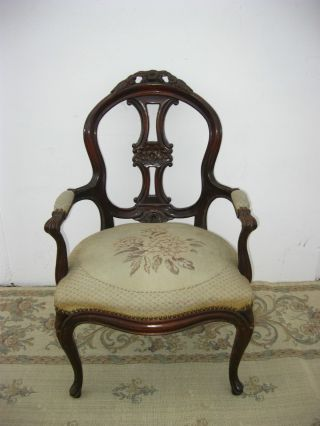 Vintage French Provincial Accent Arm Chair Tapestry Upholstery Ornate Carved photo