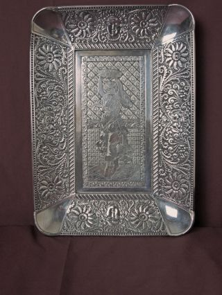 Meriden Silver Plated Tray Assyrian Heads & Gypsy Girl Etching Ca: 1886 photo
