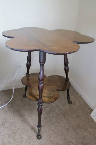 Fine Antique Clover Leaf Table With Turned Legs And Glass Marble Feet C1800s photo