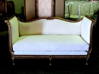 Magnificent French Gilt Louis Xvi Settee Daybed Sofa photo